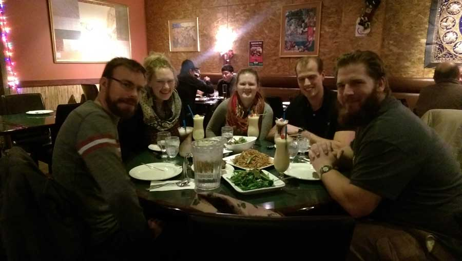 University of Alberta graduate students and campus staff eating together