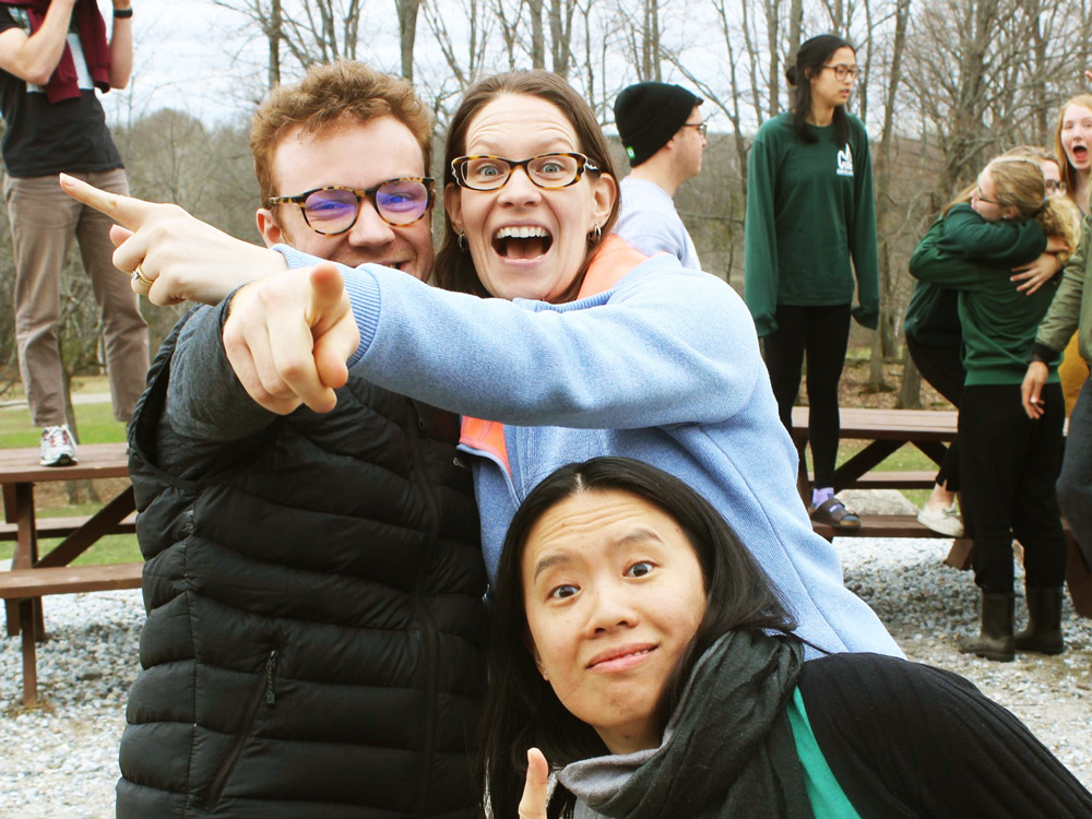 Carleton students and staff doing playful poses