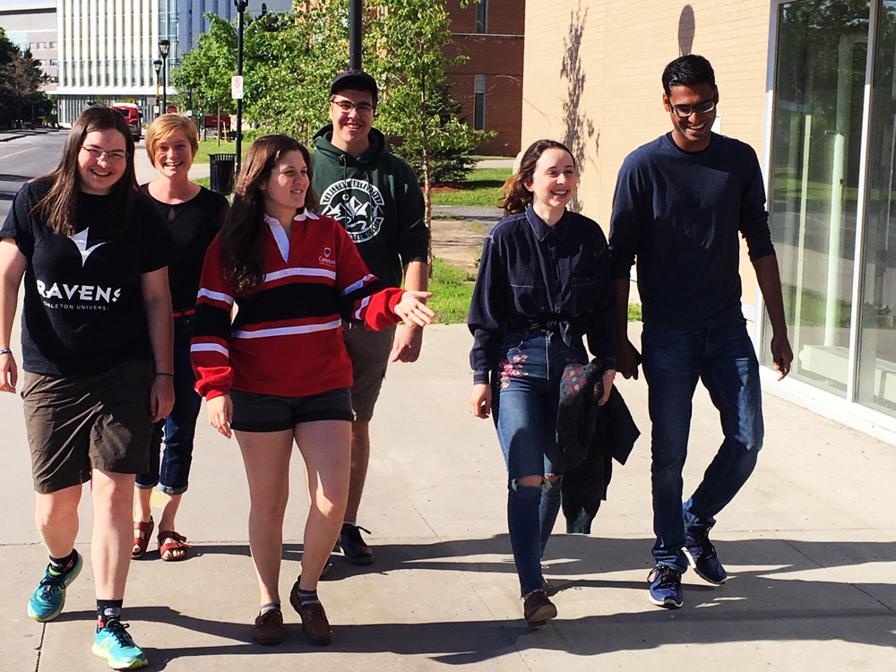 Carleton students walking in a group