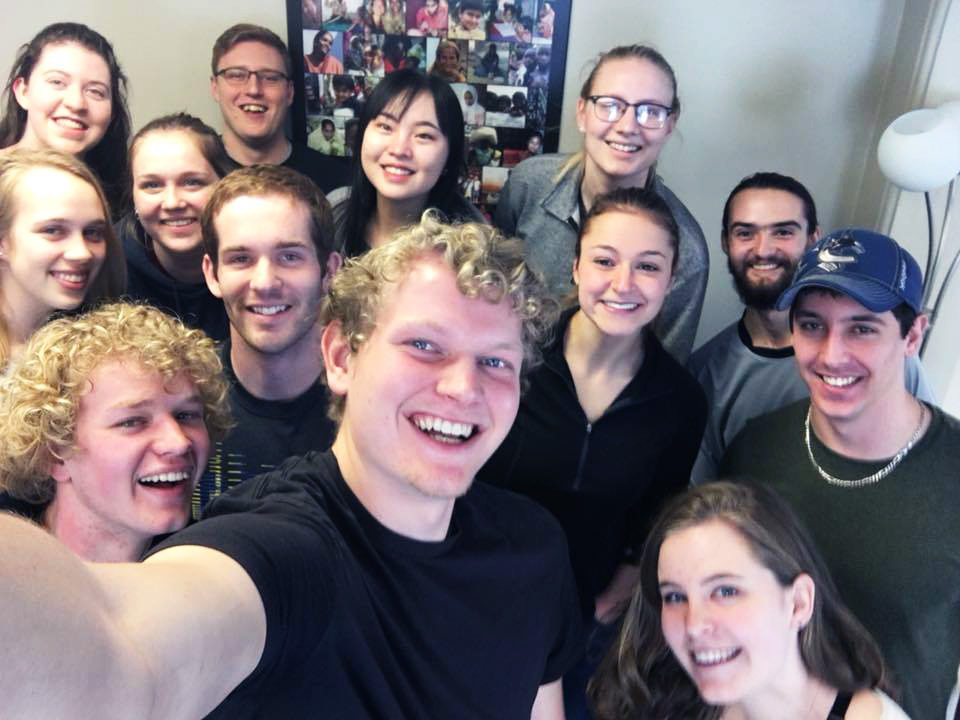 A selfie group picture of University of Guelph students
