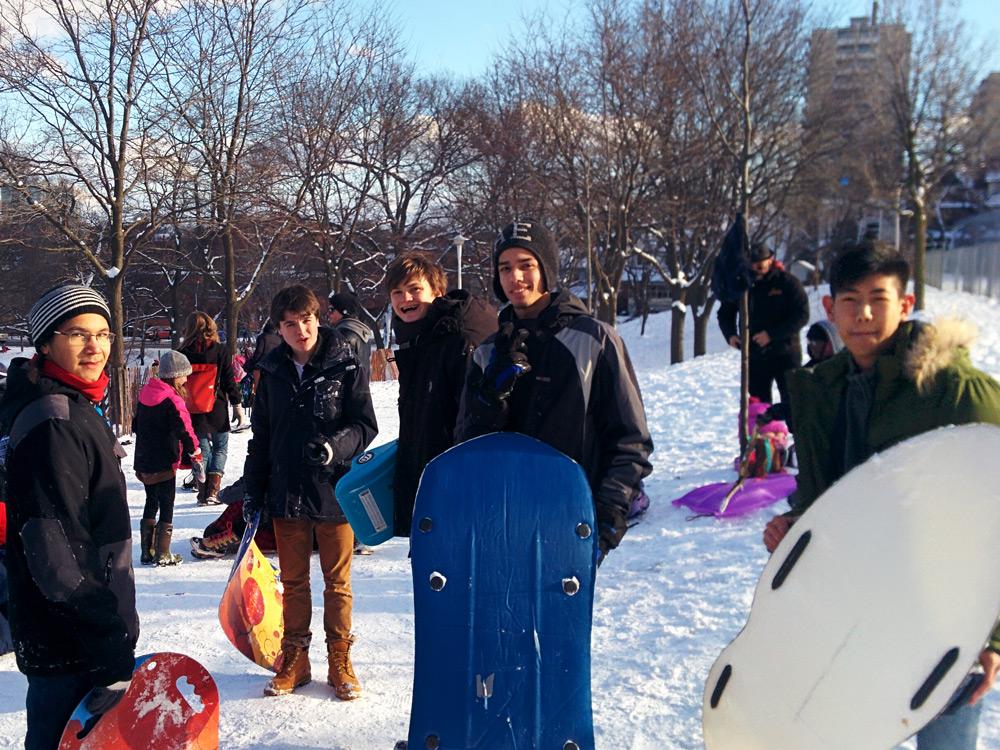 Humberside students outside sleighing