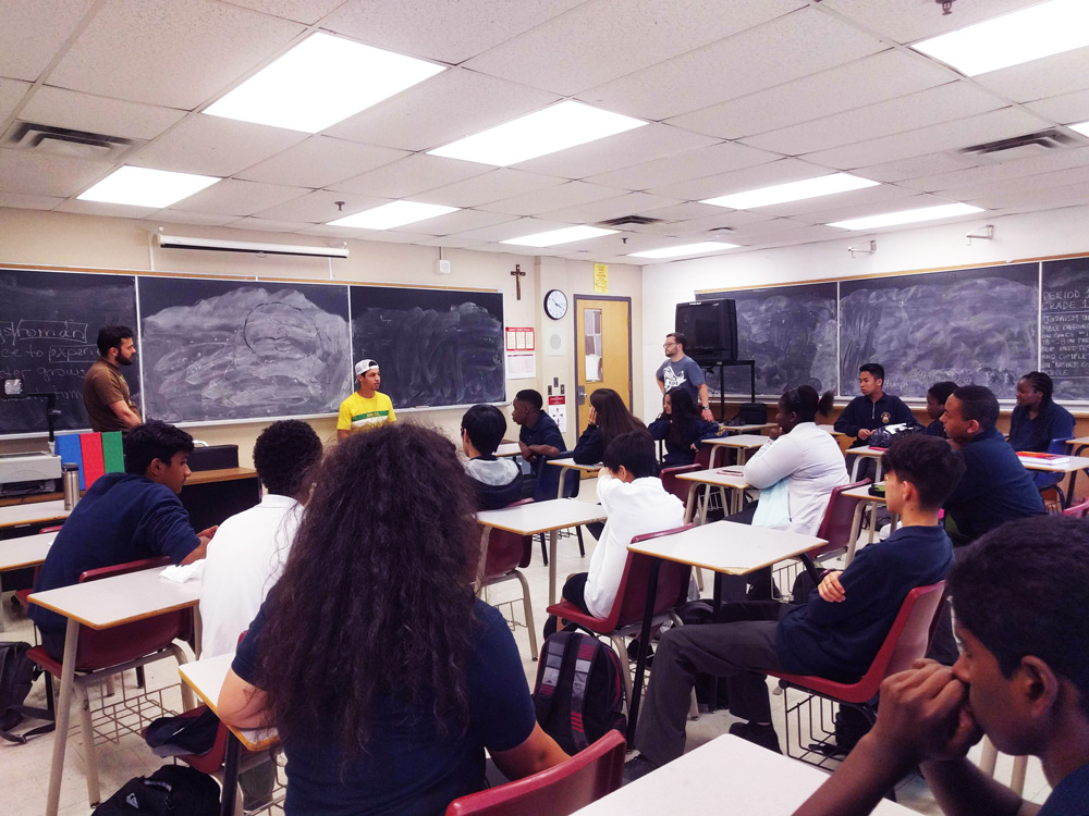 InterVarsity group high school students in a classroom