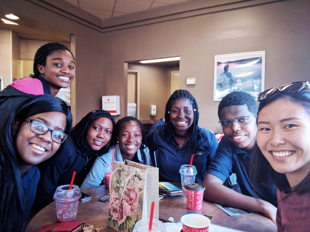 InterVarsity group high school students at Tim Hortons with high school staff