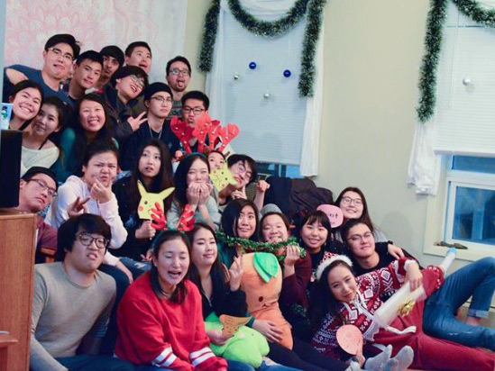 Queens University students at a Christmas party