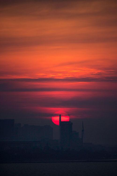 A photo of a sunrise or sunset