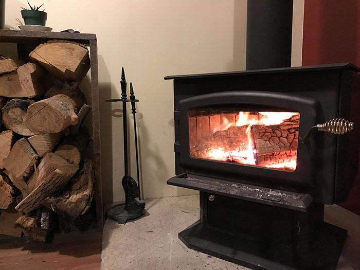 A photo of a fireplace