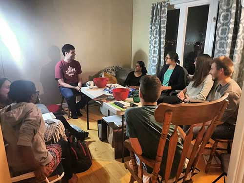 Memorial University students doing a small group