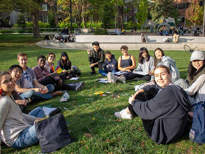 OCAD University students studying outdoor