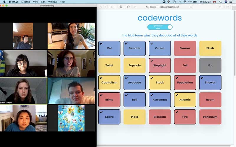 Students at Langara College in a virtual meeting playing codewords together