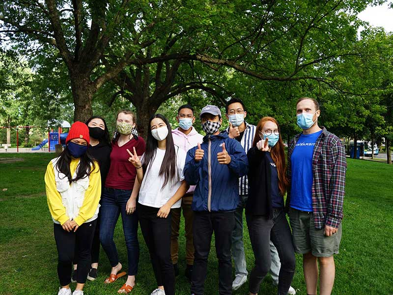 Students at Concordia University wearing masks
