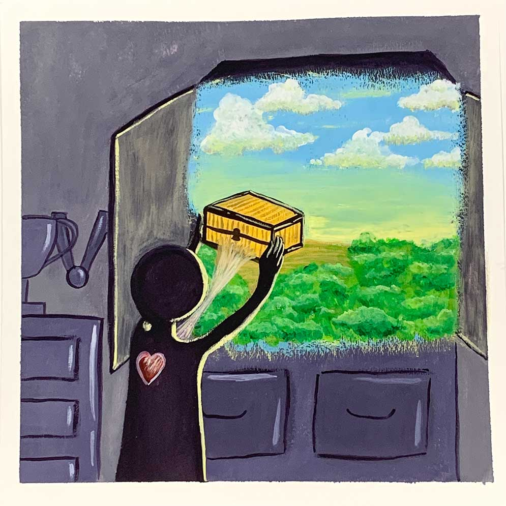 Painting with grey background. Grey images of a trophy and a medal hanging off of it sit on top of a dresser. To the right is a window with grey shutters opening inwards. A black silhouette of a figure is painted from behind with a red heart on their back. The figure reaches out the window holding a closed, yellow box with a keyhole. A white web is connected to the box, which is also attached to the heart. The view out the window is of a bright coloured landscape featuring blue to yellowing sky, white puffy clouds, and a flat yellow and green landscape with greenery.