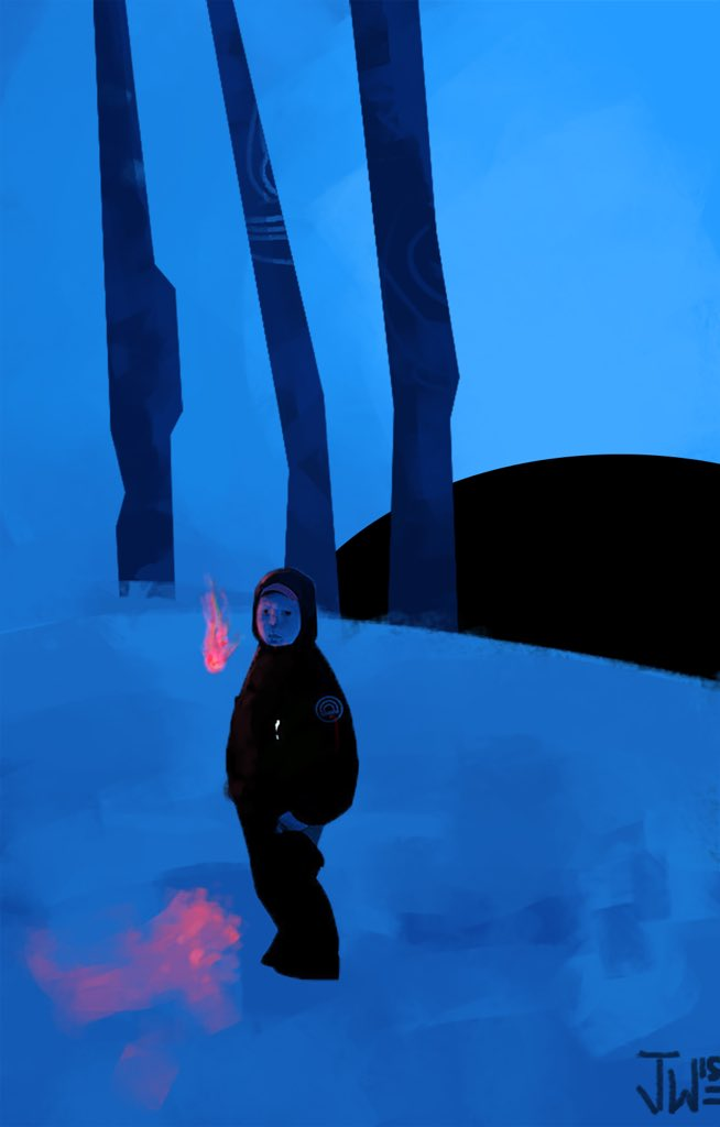 Painting of a boy standing on snow in the dark with couple flames around him. Artwork by Josh Wesey. Links to the larger image.